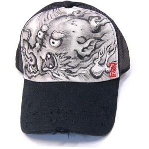 SALE 手描き 龍柄 ビンテージ メッシュキャップ 和柄帽子|studio-ichi