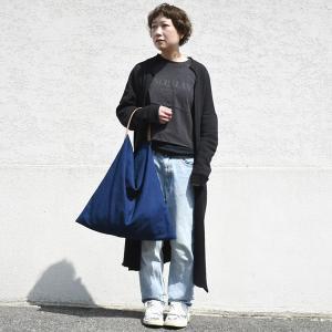 インディゴ コットン リネン レザー キャンバス M トートバッグ 綿 麻 帆布|studio-ichi|02