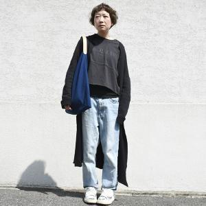インディゴ コットン リネン レザー キャンバス M トートバッグ 綿 麻 帆布|studio-ichi|03