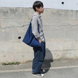 インディゴ コットン リネン レザー キャンバス M トートバッグ 綿 麻 帆布|studio-ichi|04