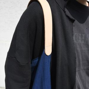 インディゴ コットン リネン レザー キャンバス M トートバッグ 綿 麻 帆布|studio-ichi|06