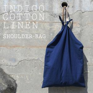 インディゴ コットン リネン レザー キャンバス 袈裟 ショルダーバッグ 綿 麻 帆布 トートバッグ 大きい|studio-ichi