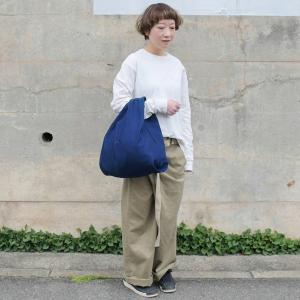 インディゴ コットン リネン キャンバス ふろしき トートバッグ 綿 麻 帆布 まんまる 可愛い|studio-ichi|03