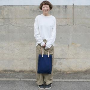 インディゴ コットン リネン レザー キャンバス A4 トートバッグ 綿 麻 帆布|studio-ichi|02