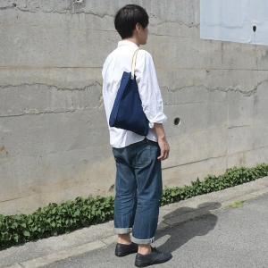 インディゴ コットン リネン レザー キャンバス A4 トートバッグ 綿 麻 帆布|studio-ichi|04