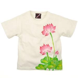 SALE Tシャツ 半袖 和柄 蓮 手描き 出産祝い 子供服|studio-ichi