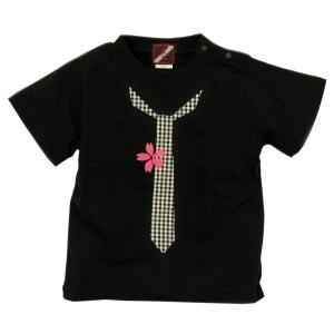 SALE Tシャツ 半袖 和柄 ネクタイ 桜 手描き 出産祝い 子供服|studio-ichi|03
