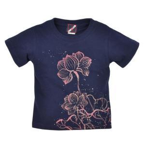 SALE Tシャツ 半袖 和柄 抜染 蓮 手描き 出産祝い 子供服|studio-ichi
