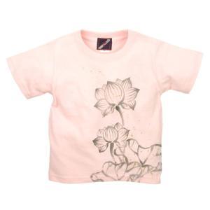 SALE Tシャツ 半袖 和柄 抜染 蓮 手描き 出産祝い 子供服|studio-ichi|03
