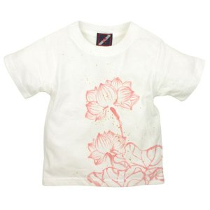 SALE Tシャツ 半袖 和柄 抜染 蓮 手描き 出産祝い 子供服|studio-ichi|05