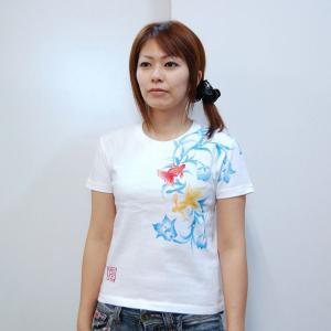 Tシャツ レディース 半袖 和柄 手描き 金魚柄 花柄|studio-ichi