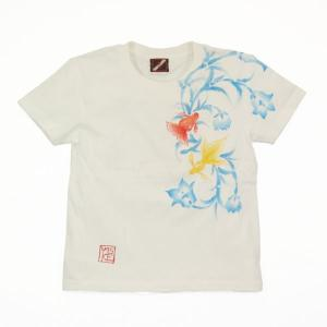 Tシャツ レディース 半袖 和柄 手描き 金魚柄 花柄|studio-ichi|02
