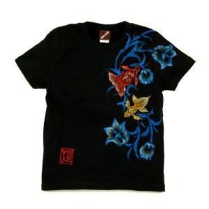 Tシャツ レディース 半袖 和柄 手描き 金魚柄 花柄|studio-ichi|03