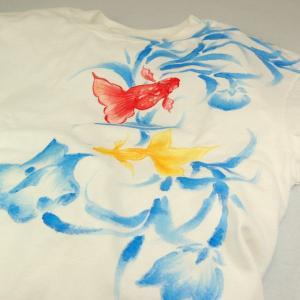 Tシャツ レディース 半袖 和柄 手描き 金魚柄 花柄|studio-ichi|04