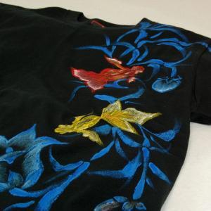 Tシャツ レディース 半袖 和柄 手描き 金魚柄 花柄|studio-ichi|05