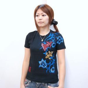 Tシャツ レディース 半袖 和柄 手描き 金魚柄 花柄|studio-ichi|06