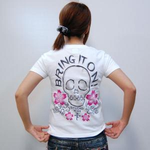 SALE Tシャツ レディース 半袖 手描き 髑髏櫻柄スカル|studio-ichi