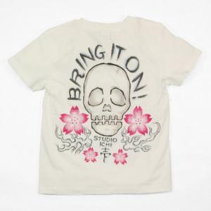 SALE Tシャツ レディース 半袖 手描き 髑髏櫻柄スカル|studio-ichi|03