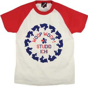 SALE ラグランTシャツ レディース 半袖 手描き 干支兎柄|studio-ichi
