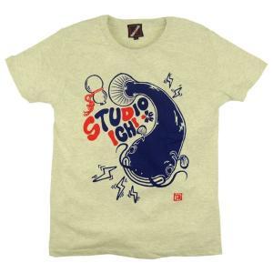 SALE Tシャツ 鯰瓢箪 アメカジ M オートミール グリーン ブルー|studio-ichi