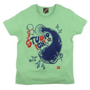 SALE Tシャツ 鯰瓢箪 アメカジ M オートミール グリーン ブルー|studio-ichi|03