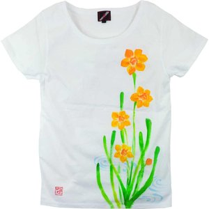 SALE ベーシックTシャツ 花柄 レディース 半袖 手描き 水仙柄|studio-ichi