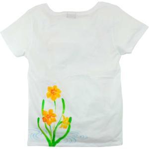 SALE ベーシックTシャツ 花柄 レディース 半袖 手描き 水仙柄|studio-ichi|02