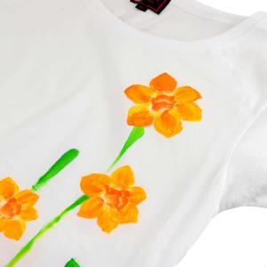 SALE ベーシックTシャツ 花柄 レディース 半袖 手描き 水仙柄|studio-ichi|03