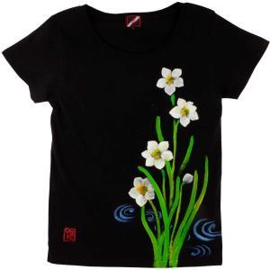 SALE ベーシックTシャツ 花柄 レディース 半袖 手描き 水仙柄|studio-ichi|04