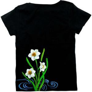 SALE ベーシックTシャツ 花柄 レディース 半袖 手描き 水仙柄|studio-ichi|05
