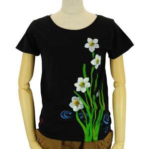 SALE ベーシックTシャツ 花柄 レディース 半袖 手描き 水仙柄|studio-ichi|06