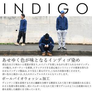 レディース ラグラン インディゴ デニム クールネック スウェット トレーナー  ギフト|studio-ichi|06