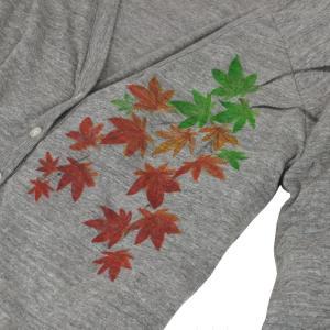 SALE カーディガン レディース 長袖 手描き 紅葉柄 秋冬|studio-ichi|03