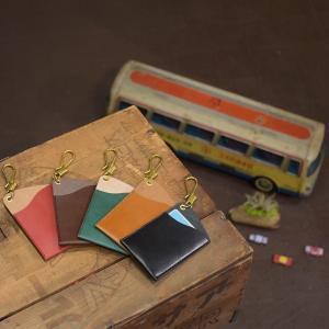 名入れ 刻印付き 真鍮フック レザー ヌメ革 ICカードケース パスケース|studio-ichi|05