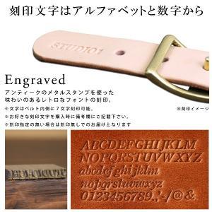 名入れ刻印付き ヌメ革 オーダー へそ舟 レザー ベルト 真鍮 大きいサイズ 小さいサイズ オーダーメイド プレゼント ギフト|studio-ichi|04