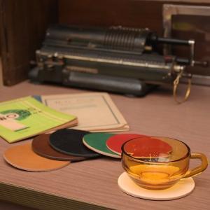 名入れ 刻印付き ヌメ革 丸 三角 四角 コースター レザー 5枚セット メッセージ 店名|studio-ichi|05