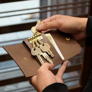 名入れ 刻印付き ヌメ革 5連 キーケース レザー メッセージ 真鍮 プレゼント ギフト|studio-ichi|05