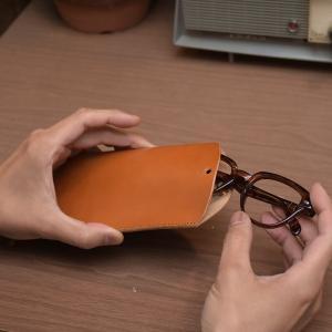 スリム メガネケース めがね レザー プレゼント ギフト 敬老の日 老眼鏡ケース 名入れ 刻印付き ヌメ革|studio-ichi|05