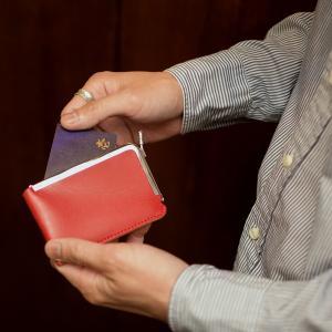 名入れ 刻印付き ヌメ革 ガマグチ 名刺ケース カードケース がま口 メッセージ ICカード レザー|studio-ichi|06