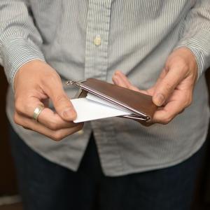 名入れ 刻印付き ヌメ革 ガマグチ 名刺ケース カードケース がま口 スマート ICカード キャッシュレス|studio-ichi|07