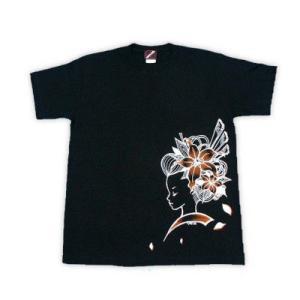 SALE Tシャツ メンズ 半袖 和柄 百合 婦人 手差し|studio-ichi