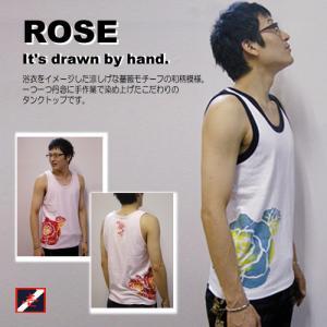 SALE タンクトップ メンズ ノースリーブ 和柄 花柄 薔薇|studio-ichi