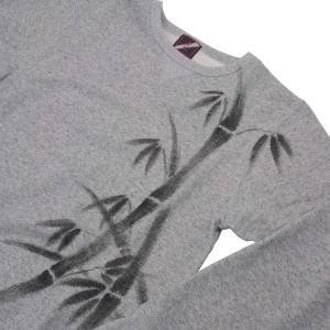 SALE 和柄 クールネックスウェット 手描き竹柄 トレーナー|studio-ichi|06