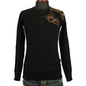 SALE Tシャツ長袖  ヘンリーネックロンT 和柄 山茶花 手描き ロンT メンズ|studio-ichi