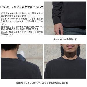 メンズ ピグメントダイ ロングスリーブ Tシャツ クルーネック ヴィンテージ加工|studio-ichi|02