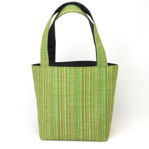着物 ランチバッグ 和柄 トートバッグ 緑縞|studio-ichi