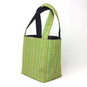 着物 ランチバッグ 和柄 トートバッグ 緑縞|studio-ichi|02