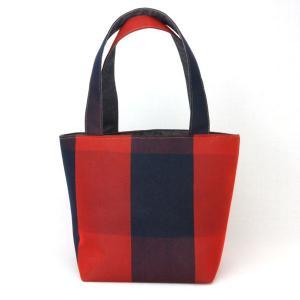 着物 ランチバッグ 和柄 トートバッグ 紺赤|studio-ichi