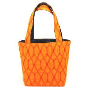 着物 ランチバッグ 和柄 トートバッグ 橙格子|studio-ichi