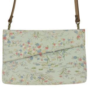 着物 クラッチバッグ ショルダーバッグ 和柄 水色小花|studio-ichi